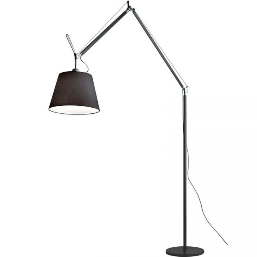 Artemide tolomeo mega black floor lamp for Tolomeo reading floor lamp with parchment shade