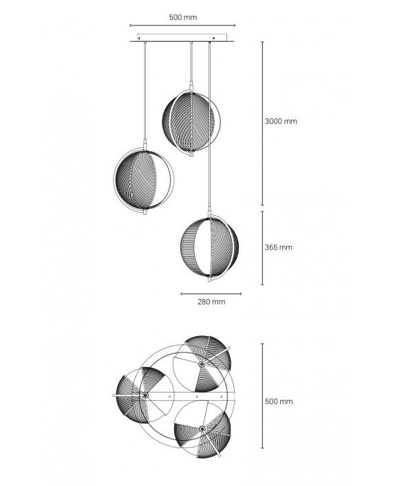 Oblure Mondo Triplette Pendant Lamp