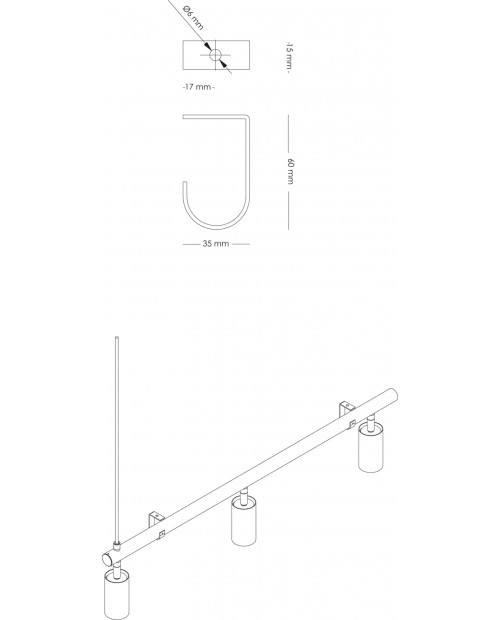 RUBN Ceiling Bracket for Long John Pendant Lamp