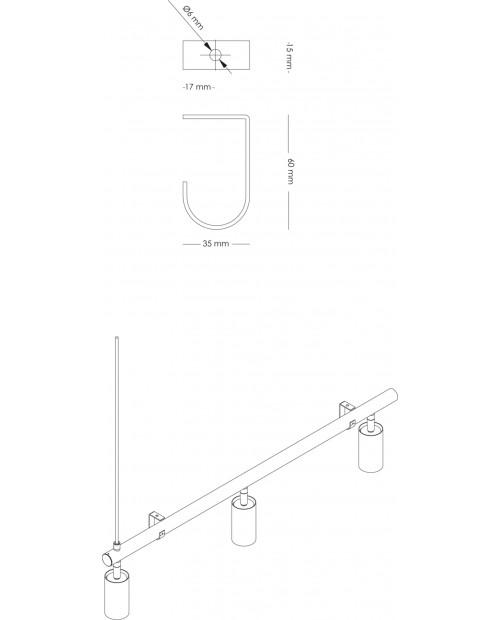 RUBN Ceiling Bracket for Long John Pendant Lamp